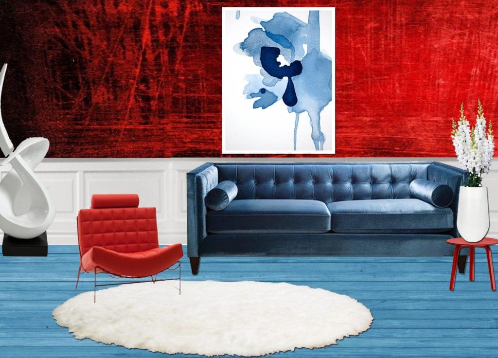 Moodboard red, white and blue interior Boutique Hotel interior design Costa Blanca