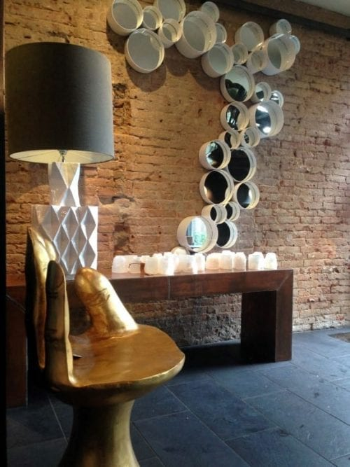 Totally Bold table lamp, gold sculpture seat, side table with mirrors Costa Blanca second home