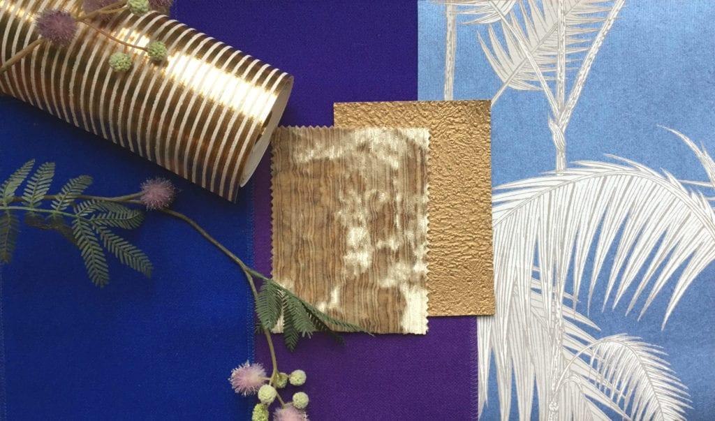 Moodboard blue, purple, gold Boutique Hotel Interior Design Costa Blanca