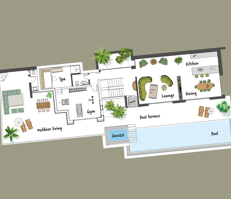 Floorplan house with pool by luxury interior designers Costa Blanca