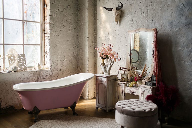 pink bathtub in bohemian Ibiza Interior Design style bathroom