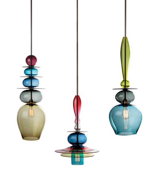 blown coloured glass Ibiza Interior Design ceiling lamps