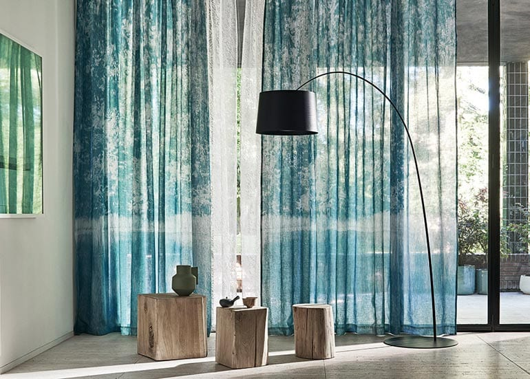 Blue Hinoki decorative Drapes for Luxury interior styling on the Costa Blanca
