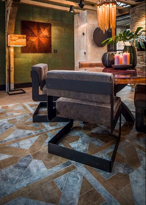 leather rug in dining room by Villa interior Design on the Costa Blanca