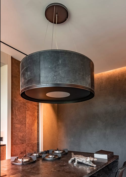 leather wall and lamp by Villa interior Design on the Costa Blanca