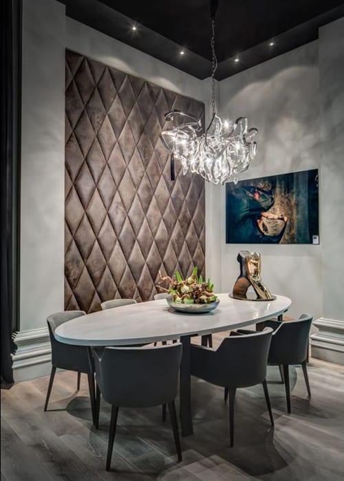 be Bold Interiors leather diamond walls by Villa interior Design on the Costa Blanca