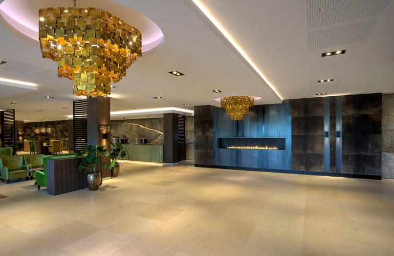 be Bold Interiors leather lobby hotel by Villa interior Design on the Costa Blanca