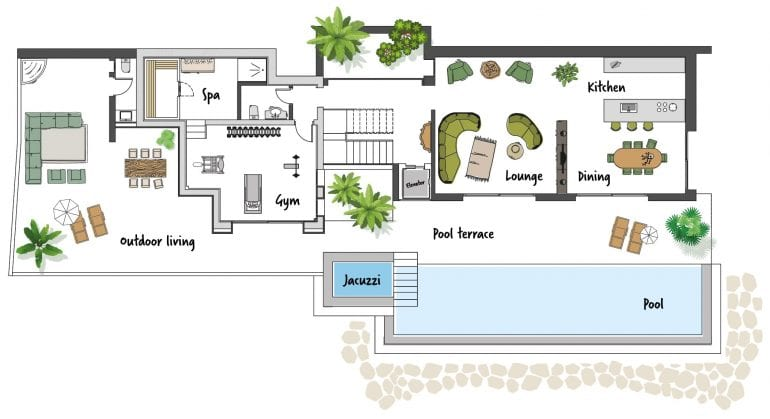 floor plan with infinity pool for a villa or finca on the costa blanca