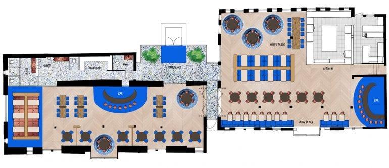 floor plan for boutique style restaurant, villa or finca on the costa blanca