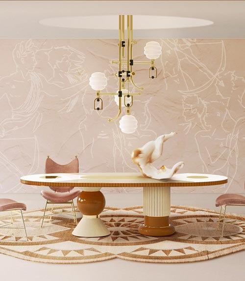 moderne eetkamer in perzik, beige door Costa Blanca luxe interieurontwerper