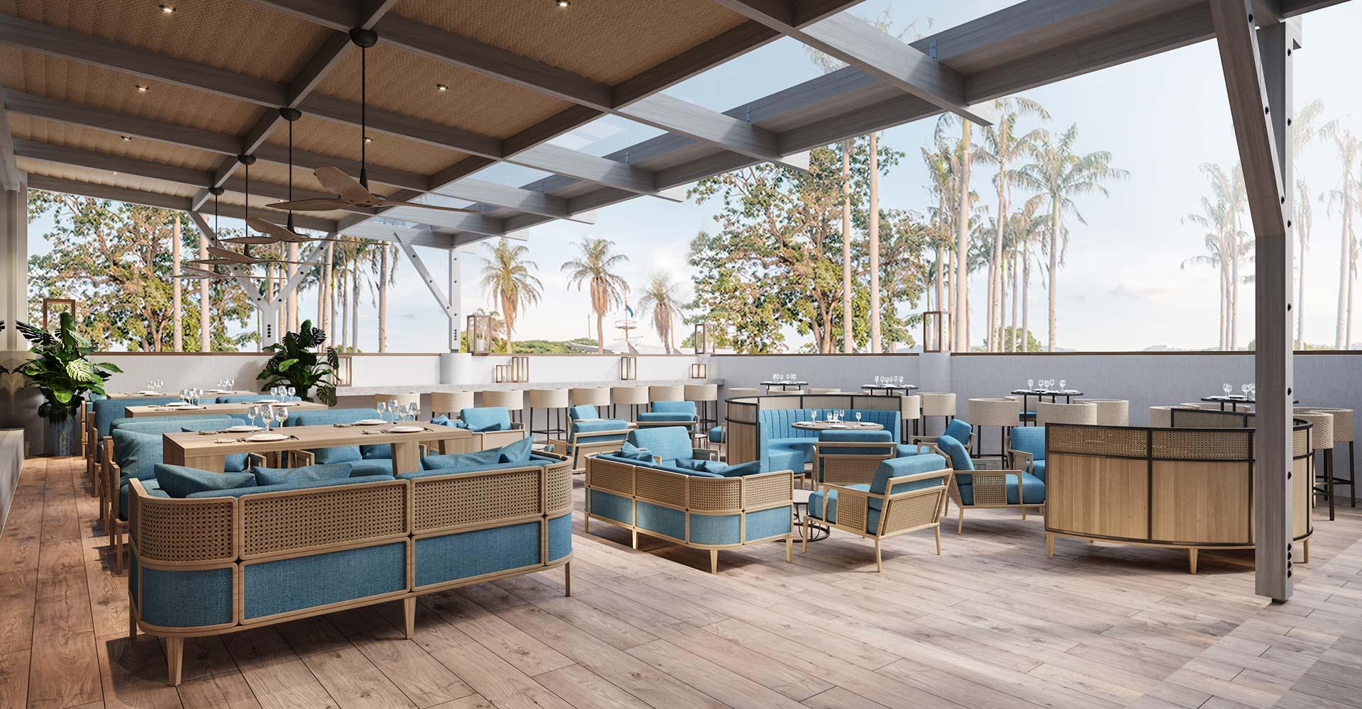 Blue and rattan open air restaurant Ibiza by Costa Blanca Interior Design Studio
