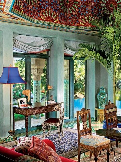 Mediterranean interior styling green living room by Todd Black