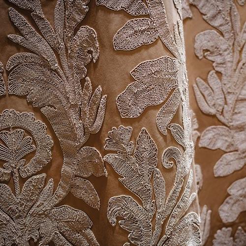 Mediterranean interior styling embriodered fabric