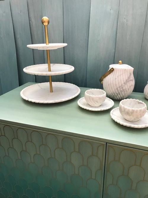 groene kast met witte thee set Mediterrane interieur styling