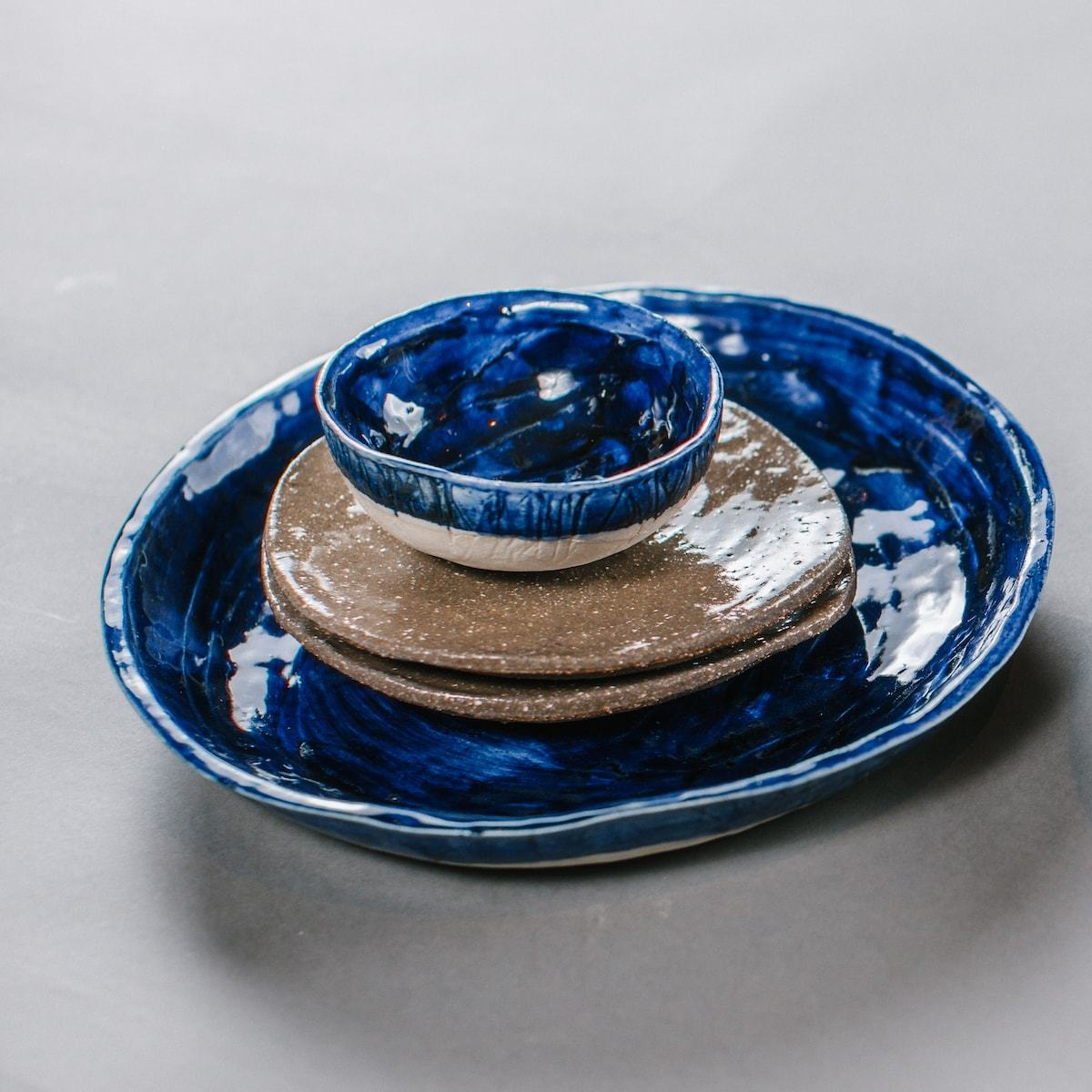 home interior styling blue plates