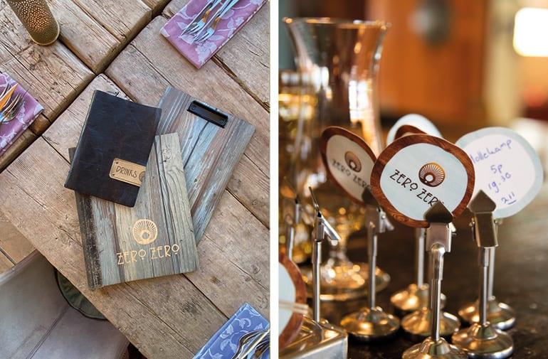 Zero Zero Restaurant en bedrijf ontwerp huisstijl van logo, menu, visitekaartjes, cadeaubon