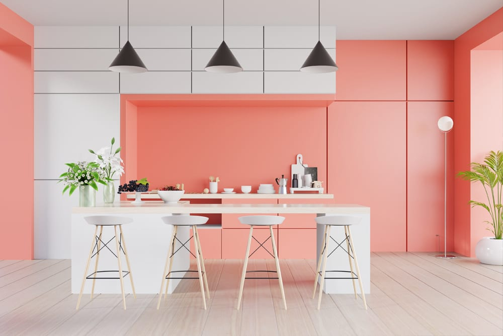 Pink and white Colourful Kitchen Design Costa Blanca