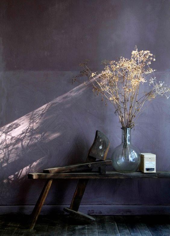 Dark purple limewash wall by Bauwerk interior designers